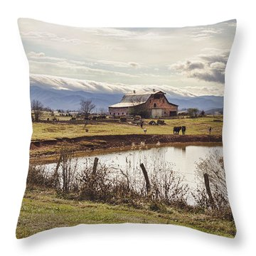 Mountain View Barn Throw Pillow by Heather Applegate