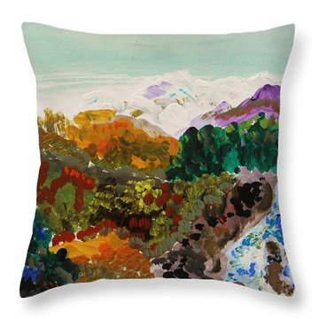 Mountain Water Throw Pillow by Mary Carol Williams