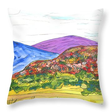 Mountains And South Mesa Throw Pillow by Kerry Bennett