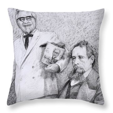 Mr Chicken And Mr Dickens Throw Pillow by James W Johnson