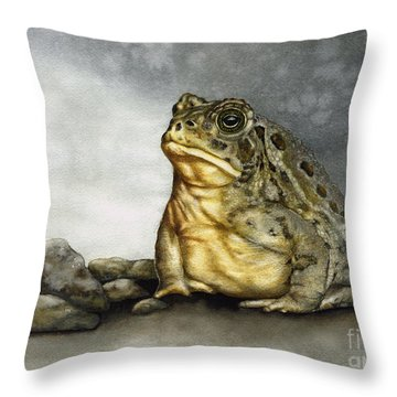 Mr. Woodhouse Toad Throw Pillow by Nan Wright