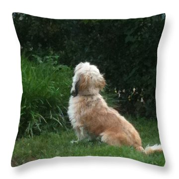 Mrs. Beazley Throw Pillow by Angela Wright