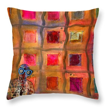 Ms Cool Goes Window Watching In Color Throw Pillow by Angela L Walker