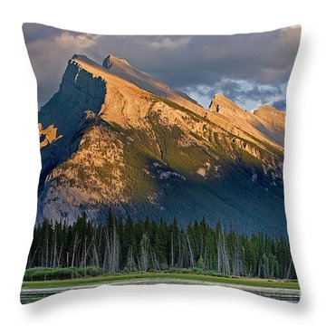 Mt. Rundle Grandeur Throw Pillow by Jerry Fornarotto