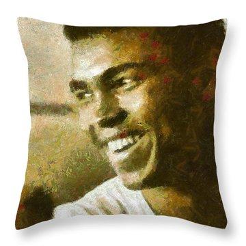 Muhamad Ali Throw Pillow by Riccardo Zullian