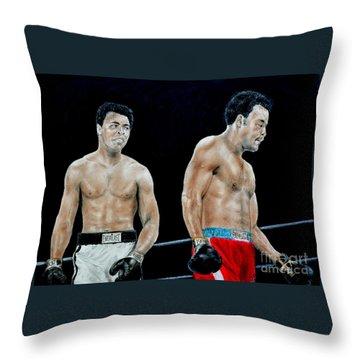 Muhammad Ali Vs George Foreman Throw Pillow by Jim Fitzpatrick