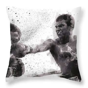 Muhammad Ali Vs Joe Frazier Throw Pillow by Daniel Hagerman