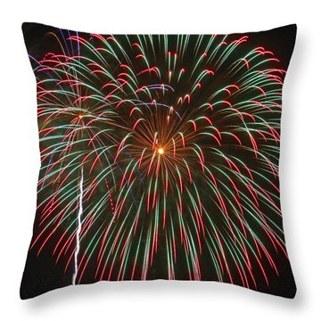 4th Of July Fireworks 16 Throw Pillow by Howard Tenke
