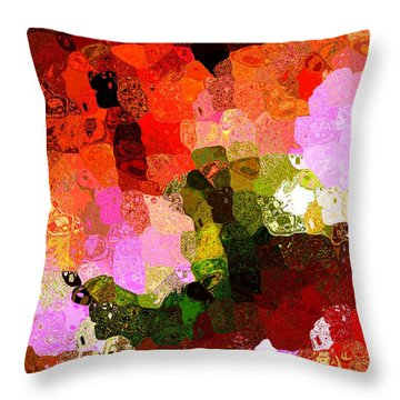 Multi Color Abstract Art Of Spots Throw Pillow by Mario Perez