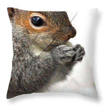 Munching Throw Pillow by Karol Livote