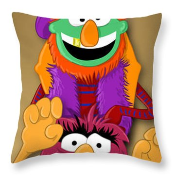 Muppet's Stretching Room Portrait #1 Throw Pillow by Lisa Leeman