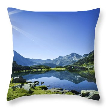 Muratov Lake Against Blue Sky Throw Pillow by Evgeny Kuklev