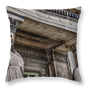 Museum Caryatids Throw Pillow by Mike Burgquist