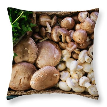 Mushrooms Throw Pillow by Tanya Harrison