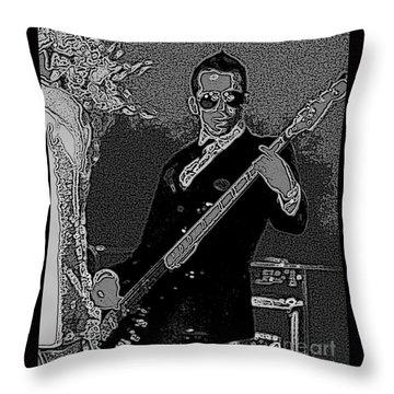 Bass Player Art Bw Throw Pillow by Lesa Fine