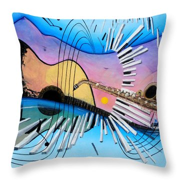 Musica Throw Pillow by Angel Ortiz
