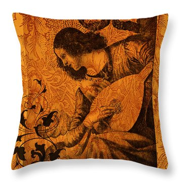 Musical Angel Throw Pillow by Sarah Vernon