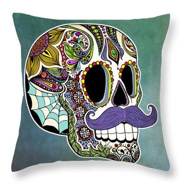 Mustache Sugar Skull Throw Pillow by Tammy Wetzel