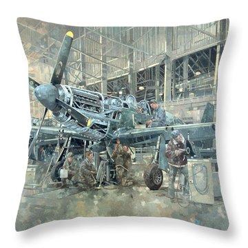 Mustang At Warton Throw Pillow by Peter Miller