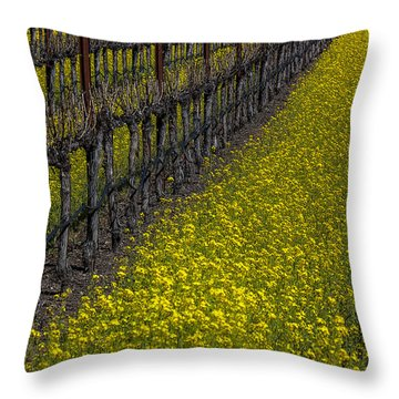 Mustrad Grass In The Vineyards Throw Pillow by Garry Gay
