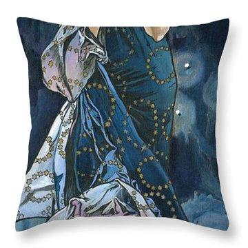 My Acrylic Painting As An Interpretation Of The Famous Artwork Of Alphonse Mucha - Moon - Throw Pillow by Elena Yakubovich