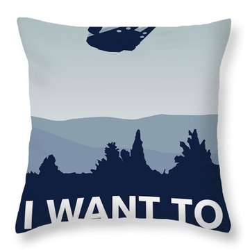My I Want To Believe Minimal Poster-millennium Falcon Throw Pillow by Chungkong Art