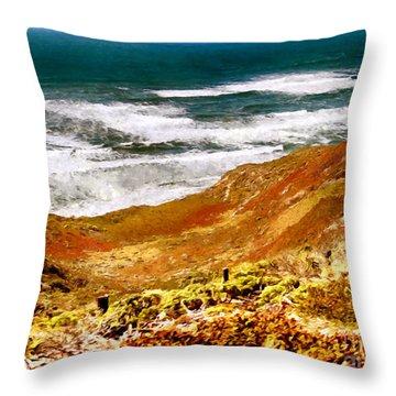 My Impression Of California Coastline Throw Pillow by Bob and Nadine Johnston