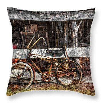 My Old Bike Throw Pillow by Debra and Dave Vanderlaan