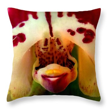 My Pet Orchid Throw Pillow by Karen Wiles
