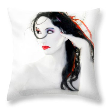 My Red Melancholy - Self Portrait Throw Pillow by Jaeda DeWalt
