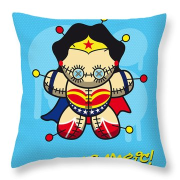 My Supercharged Voodoo Dolls Wonder Woman Throw Pillow by Chungkong Art