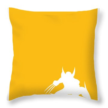 My Superhero 05 Wolf Yellow Minimal Poster Throw Pillow by Chungkong Art