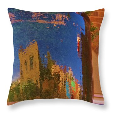 My Town Reflected In A Blue Pot Throw Pillow by Feva  Fotos