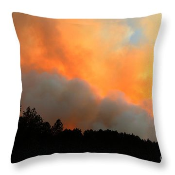 Throw Pillow featuring the photograph Myrtle Fire Near Rifle Pit Road by Bill Gabbert