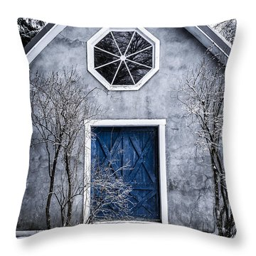 Mysterious House With Blue Door Throw Pillow by Edward Fielding