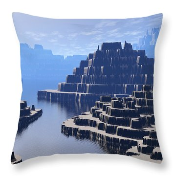 Mysterious Terraced Mountains Throw Pillow by Phil Perkins