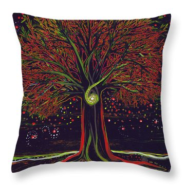 Mystic Spiral Tree Red By Jrr Throw Pillow by First Star Art