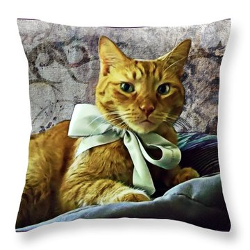 Napoleon And The Ribbon Throw Pillow by Joan  Minchak