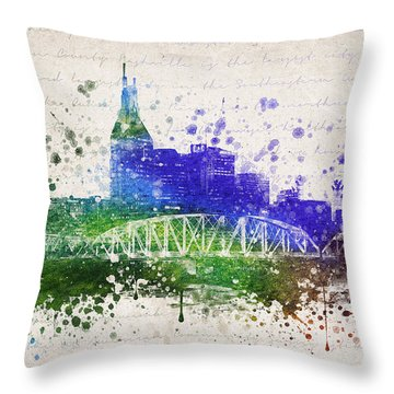 Nashville In Color Throw Pillow by Aged Pixel