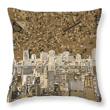 Nashville Skyline Abstract 2 Throw Pillow by Bekim Art