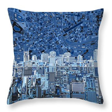 Nashville Skyline Abstract Throw Pillow by Bekim Art