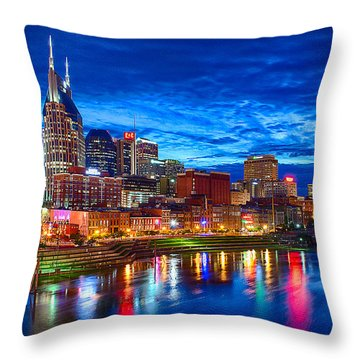 Nashville Skyline Throw Pillow by Dan Holland