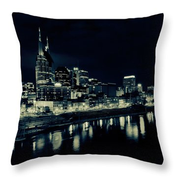 Nashville Skyline Reflected At Night Throw Pillow by Dan Sproul