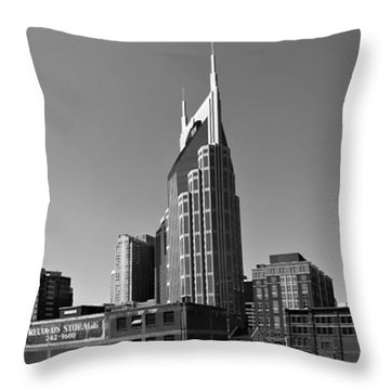 Nashville Tennessee Skyline Black And White Throw Pillow by Dan Sproul