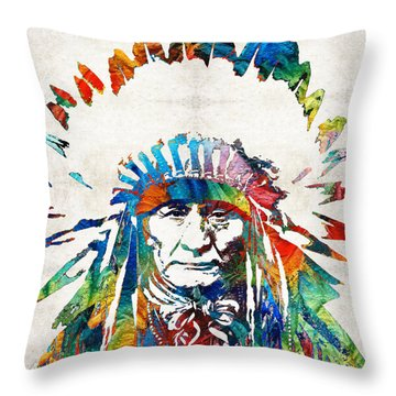 Native American Art - Chief - By Sharon Cummings Throw Pillow by Sharon Cummings