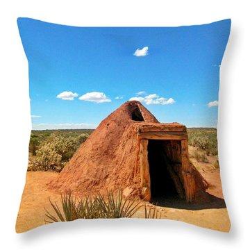 Native American Earth Lodge Throw Pillow by John Malone
