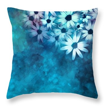 nature - flowers- White Daisies on Blue  Throw Pillow by Ann Powell