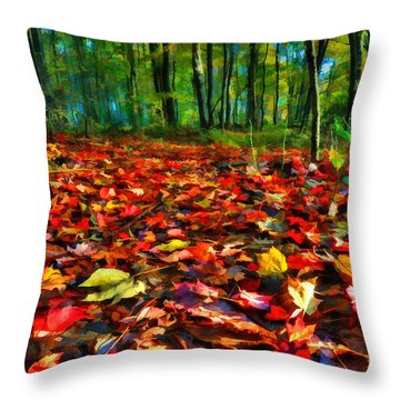 Natures Carpet In The Fall Throw Pillow by Dan Friend