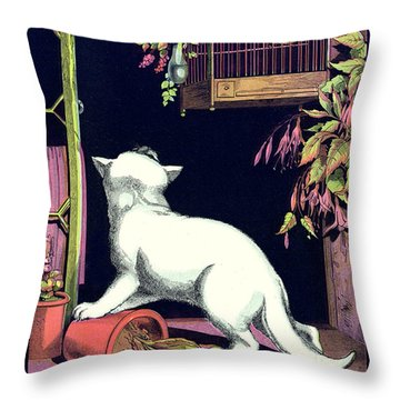 Naughty Cat Eyes A Yellow Bird In Cage Throw Pillow by Pierpont Bay Archives