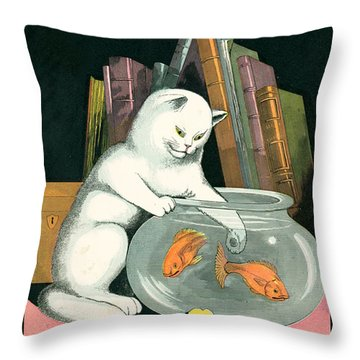 Naughty Cat Fishes For Goldfish In Fish Bowl Throw Pillow by Pierpont Bay Archives